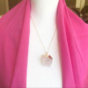 Jewelry - Ice crystal quartz gold dipped pendant necklace